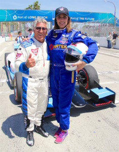 Mario Andretti took Taya for a ride in the two seater IndyCar at Long Beach